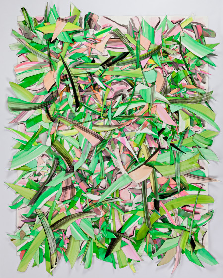 © 2018 Selena Beaudry. All rights reserved.  - Glistening with Green, 75in  x 62.5in  framed — Cut paper, Gouache, Acrylic and Marker on paper, 2015
